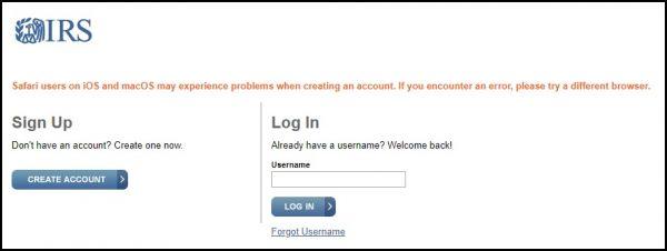 Create an IRS account