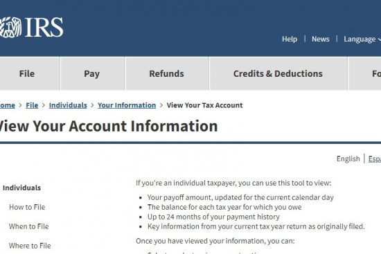 Individual IRS.gov account